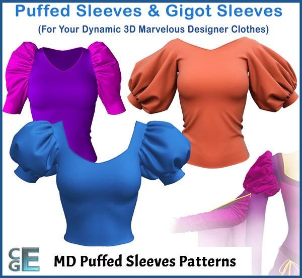 Marvelous Designer Puffed Sleeves Patterns Presets Camille Kleinman